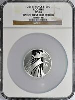 France 2014 Silver 100 Euro Rooster NGC MS70 UC French Bullion Coin 70