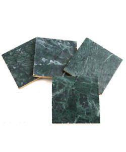 Modern Thirstystone Green Marble Coasters with Gold Trim Set of 4 MSRP $30 NEW