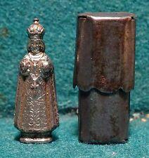 Old METAL POCKET SHRINE w/ STATUE INFANT JESUS OF PRAGUE