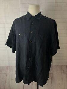 Paul Fredricks Men's Big and Tall  Black Solid Cotton Dress Shirt 18 20/21 $125