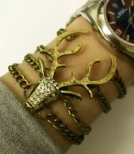 Bronze Deer Stag Head Bracelet Punk Steampunk Quirky Kitsch Christmas Gift