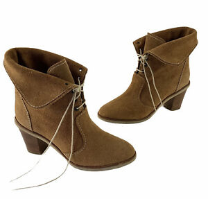 ZARA Suede Lace Up Block Heel Foldover Ankle Boots 2011 Collection Size 40 US 9