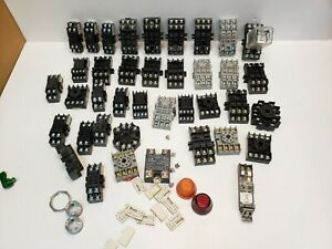 Lot 40 Assorted Surface/Din Rail Mount Relay Sockets Square, 8 Pins, 8 Blades