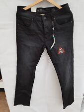 New CROSSHATCH Men's Marvin Black Jeans Slim Fit 30L 32W Short