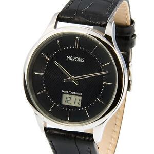 Elegante Herren Funkuhr (deutsches Funkwerk) Armbanduhr Leder Black 964.6019