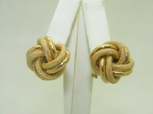 French Clip Yellow Gold Knot Earrings