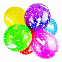 1st Birthday Balloons With Printed Numbers Party Latex Quality - Pack of 10