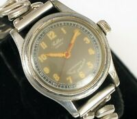 VINTAGE FELTAS SWISS MILITARY DIAL WRISTWATCH NOT RUNNING FOR PARTS OR REPAIR !