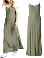 M&S Size 8,10,12,14,16,18,20 Gorgeous Khaki Crinkle Maxi Dress (b16)