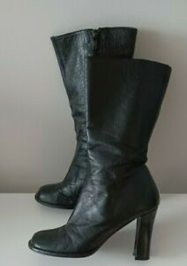 Schuh Leather  Mid Calf Boots Black Size 3 Ladies Womens