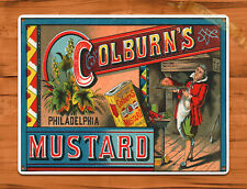 "TIN SIGN ""Colburn's Mustard"" Condiment Ad Rustic Kitchen Wall Decor"