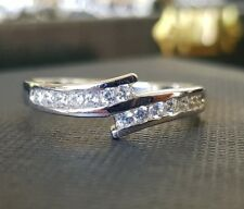 white gold finish crossover created diamond ring size V free postage gift idea