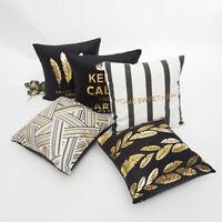 Schwarz Weiß Gold Kissenbezug Kissenhülle Dekokissen 45x45cm Reißverschluss