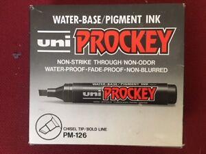 Uni Prockey Chisel Tip Markers Blue PM-126 pk12  Price includes Vat