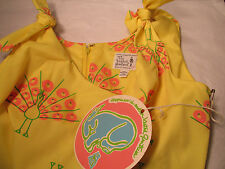 NOS Vintage VESTED GENTRESS Maxi Dress Yellow Peacock print - 8