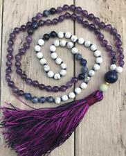 Amethyst Natural gemstone 6MM 108 Mala Necklace yoga meditation tassel Bracelet
