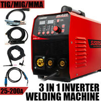 240V MIG Inverte Welder 200Amp Gas Gasless MMA ARC TIG Welding Machine Portable