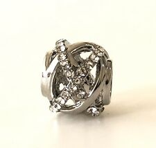 Beautiful Silver Plated Sparkling Cz Galaxy Openwork Bead Charm For Bracelets