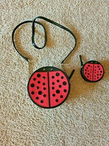 Kate Spade Turn Over A New Leaf Red Ladybug Crossbody & Coin Purse Handbag EUC