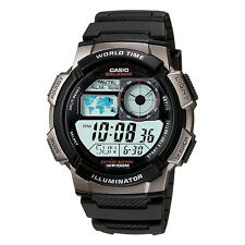 New Casio AE-1000W-1BV Multi Time Stopwatch World Time LED Black Resin Watch