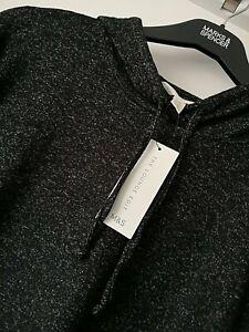 LADIES M&S SIZE 16 BLACK SUPER SOFT & STRETCHY LOUNGE HOODIE TOP FREE POST