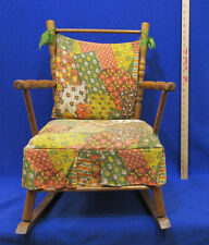 Vintage Childs Wood Rocker Doll Furniture Rocking Chair Padded Fabric Seat