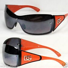 New DG Shield Womens Semi Mirror Designer Sunglasses Shades Orange Fashion Large