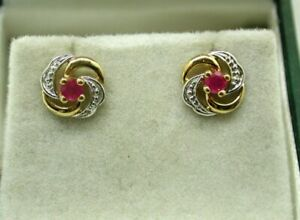 Lovely Pair Of Two Colour 9 carat Gold And Ruby Stud Earrings