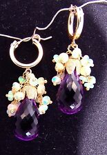 14K Gold Hoop GF Amethyst Ethiopian Opal Cluster Chandelier Earrings