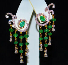 NATURAL PRECIOUS GEMSTONE EMERALD LONG EARRING WITH HANGING BEADS IN 92.5 SILVER
