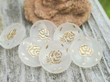 6 Gorgeous Antique Vintage Camphor Glass Butttons with Gold Luster Rose Trim