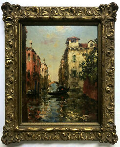 OIL PAINTING Antique c.1900 ~ CANAL IN VENICE ~ French POST-IMPRESSIONIST Signed