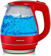 Electric Kettle 1.5L Glass Red BPA-Free Cordless LED Tea Coffee Hot Water Boiler