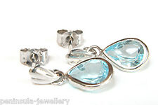 9ct White Gold Blue Topaz Teardrop Earrings Gift Boxed Made in UK