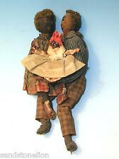 Circa 1800's ORIGINAL FOLK ART GROUPING BLACK AMERICANA HAND SEWN DOLLS AAFA