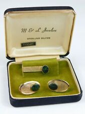 Vtg PRK Sterling Silver & Jade Cufflinks & Tie Clip Set 12K Gold Filled Orig Box