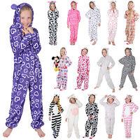 Girls Hooded Fleece All In One Piece Pyjamas Jump Sleep Suit PJ Nightwear New