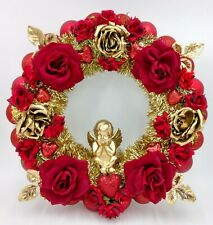 Deep Red & Gold Cherub Valentine's Day Wreath