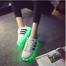 LED USB Light Up Unisex Shoes Trainers Sneakers Flat Luminous Sneaker