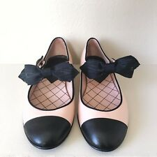 CHANEL RARE Pink Black Bow Mary Jane Flats Lambskin Leather Cap Toe Size 8