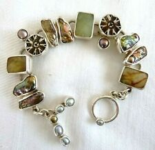 Signed Echo of the Dreamer Multi-Stone Toggle Bracelet Sterling Silver 42.5 Grms