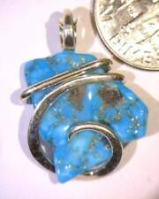 12.03ct Arizona Blue Turquoise Art Pendant Slice in Sterling Silver Wrap