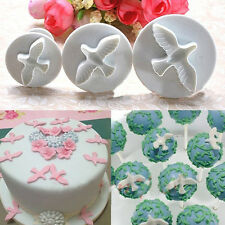 3 pcs DIY White Cake Cookie Molds Dove PIgeon Bird Mould Cutter Fondant Plunger