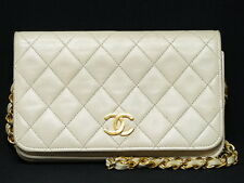 rk5105 Auth CHANEL Beige Quilted Lambskin CC Mini Full Flap Chain Shoulder Bag
