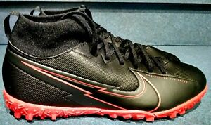 Nike Mercurial Superfly-7 Academy TURF Black Red AT8143-060 Soccer Shoes 5Y