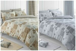 Shabby Chic Floral Patchwork Duvet Cover and Pillowcase Bedding Set Natural Grey