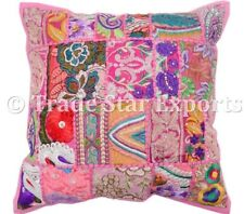 Indian Vintage Embroidered Cushion Cover 16x16 Handmade Patchwork Pillow Cases