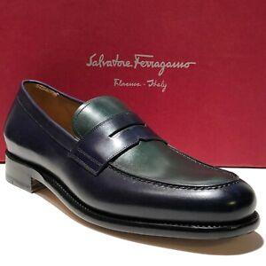 FERRAGAMO Rinaldo TRAMEZZA Navy Blue Green Leather Penny Dress Loafers 8.5 41.5