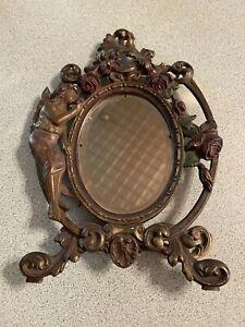 Vintage Antique Victorian Brass Ornate Vanity Dresser Mirror