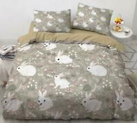 3D White Rabbit ZHUA1343 Bed Pillowcases Quilt Duvet Cover Set Queen King Zoe